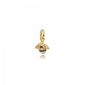 18CT Gold Plated Queen Bee Shine Charm Bead For Pandora Bracelet