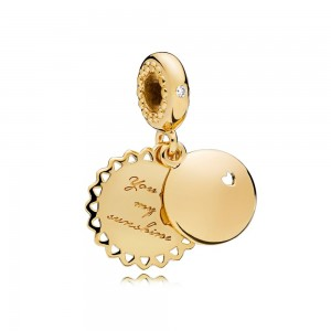 18CT Gold Plated You Are My Sunshine Charm Bead For Pandora Bracelet
