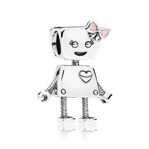 925 Sterling Silver Bella Bot with Pink Bow Charm Bead For Pandora Bracelet