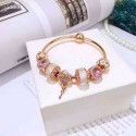 Rose Gold Plated Complete Finished Charm Bracelet-Rose Gold with Pink