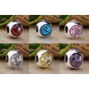 925 Sterling Silver Radiant Droplet with Faceted Cubic Zirconia Charm Bead