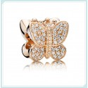 Rose™ Sparkling Butterfly Animal Bead with Clear Zirconia For Pandora Charm Bracelet