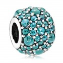 925 Sterling Silver Shimmering Droplets with Teal Zirconia Charm Bead For Bracelet