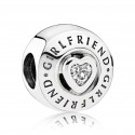 925 Sterling Silver Girlfriend with Clear Cz Charm Bead For Pandora Bracelet