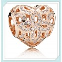 Rose™ Love and Appreciation Openworks Bead with Clear Zirconia For Pandora Charm Bracelet
