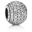 925 Sterling Silver Clear Pave Lights Charm Bead For Pandora Bracelet