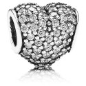 925 Sterling Silver Pave Heart with Clear Zirconia Bead For Pandora Charm Bracelets