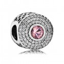 925 Sterling Silver Radiant Splendor with Blush Pink Crystal and Clear CZ Charm Bead For Pandora Charm Bracelet