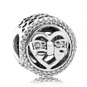 925 Sterling Silver Loving Ties with Clear Cz Charm Bead For Pandora Bracelet