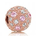 Rose Gold Plated Pink & Clear Cz Cosmic Clip Charm Bead For Pandora Charm Bracelet