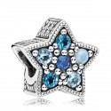 925 Sterling Silver Bright Star Multi-Colored Crystals Charm Bead For Pandora Bracelet