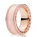 Rose Gold Plated Pink Cz & Cream Enamel Hearts of Ring
