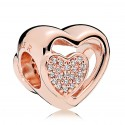 Rose Gold Plated Clear Cz Joined Together Charm Bead For Pandora Charm Bracelet