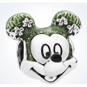 925 Sterling Silver Mickey Head With Green Enamel Charm Bead