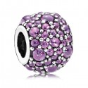 925 Sterling Silver Shimmering Droplets with Purple Zirconia Bead For Charm Bracelet